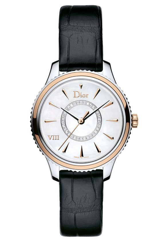 Dior-VIII-Montaigne-Steel-pink-Gold-Bezel-alligator-Strap-32mm